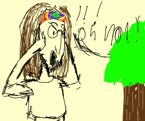 Rainbow hippy says oh no to tree