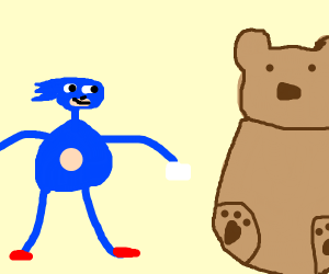 Sanic becomes a blue sinep with a teddy bear