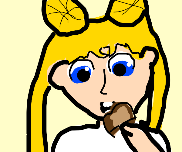 Sailor Moon eats toast.