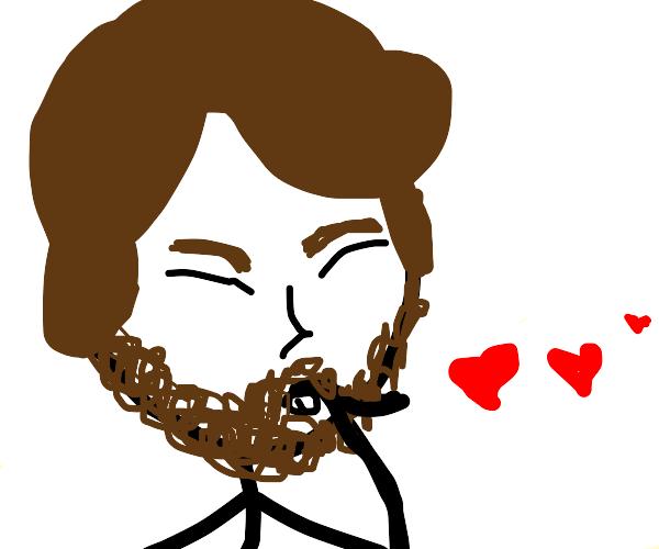 Man blowing kisses