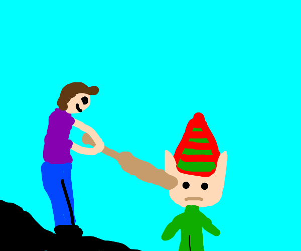 guy attacking elf with a bat