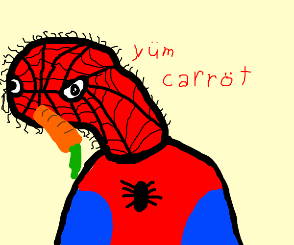 Spiderman eating a carrot