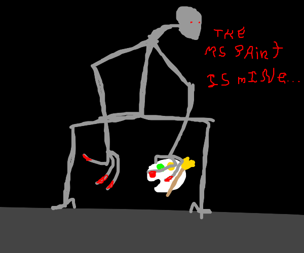 deformed man visits earth to steal M.S paint