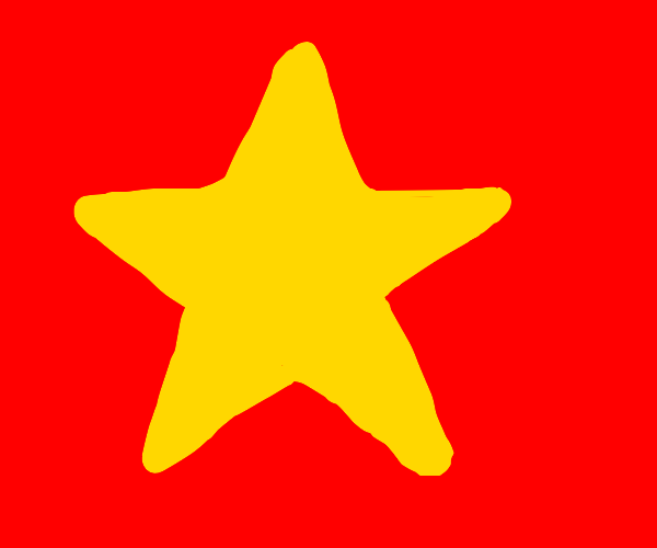 Yellow star on red background