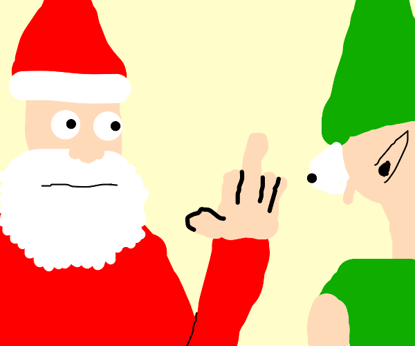 santa showing the middle finger to an elf