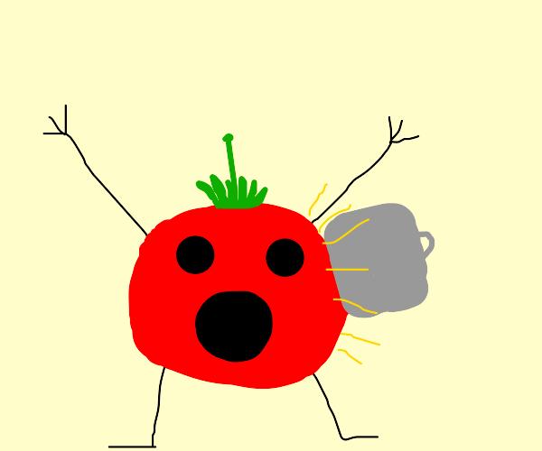 Tomato being mugged