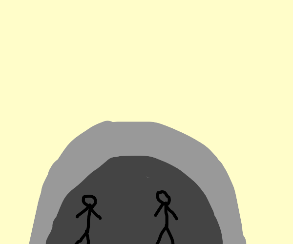 the stone age (two people in a cave)