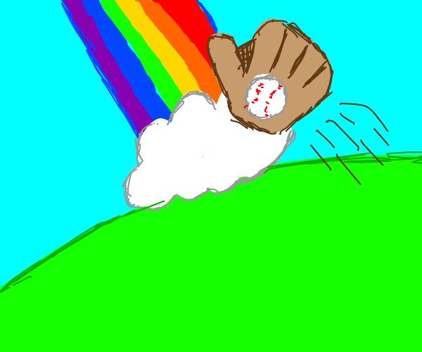 Baseball glove hitting a rainbow