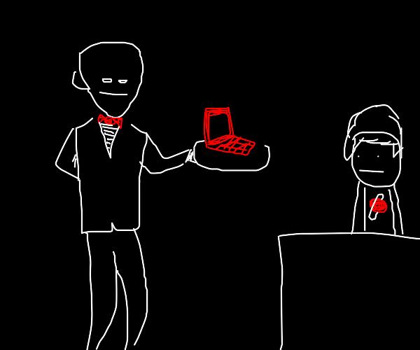 Waiter awkwardly serves a laptop