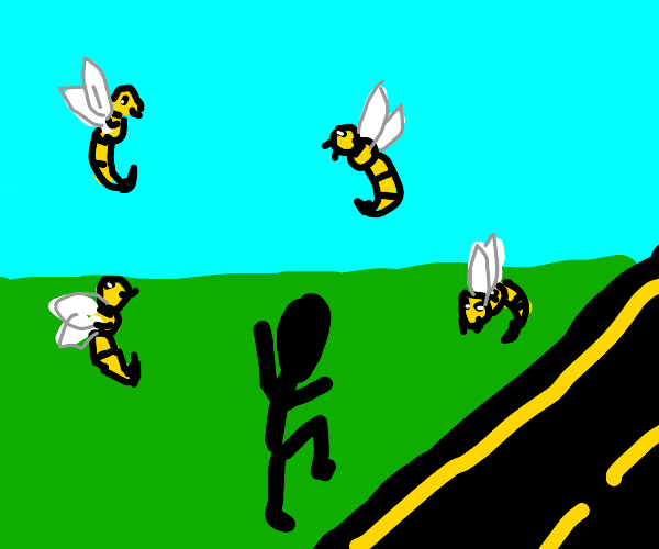 Person next to the road, bugs in the sky