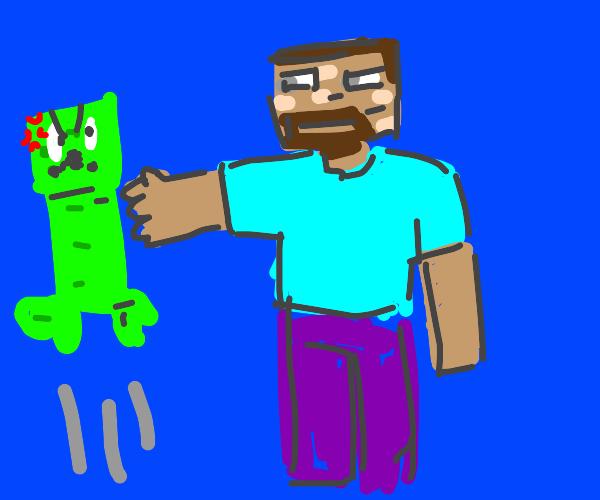 Steve whacks Creeper