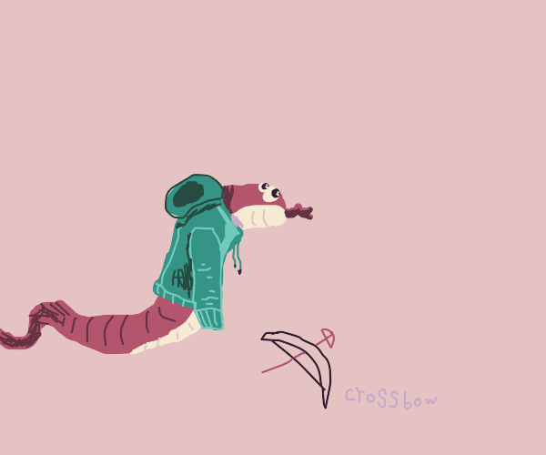 Snake in a hoodie with a crossbow