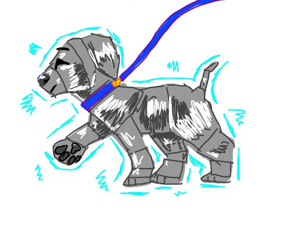 man walking dog made of metal + glowing blue
