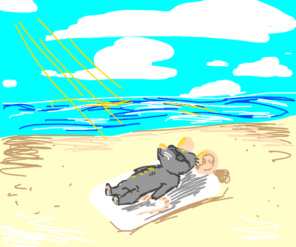 Mouse tanning on the beach