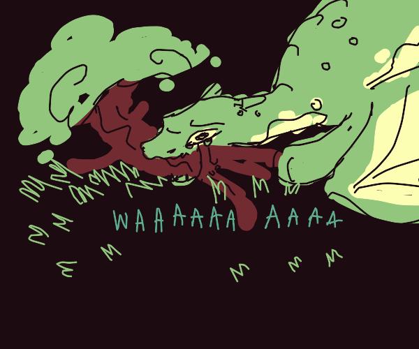 sad dragon eats a tree