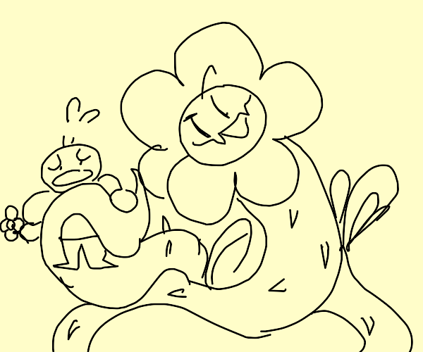 Giant flower wants to pick up a man