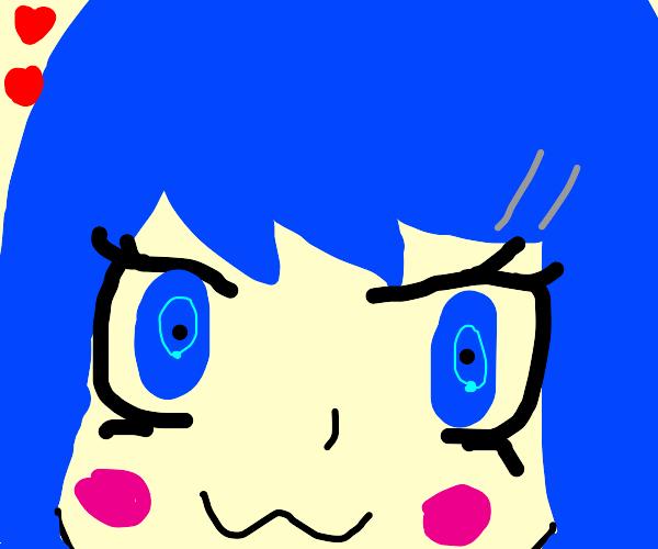 Blue Haired Anime Girl's Head