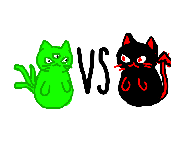 alien cat fighting devil cat