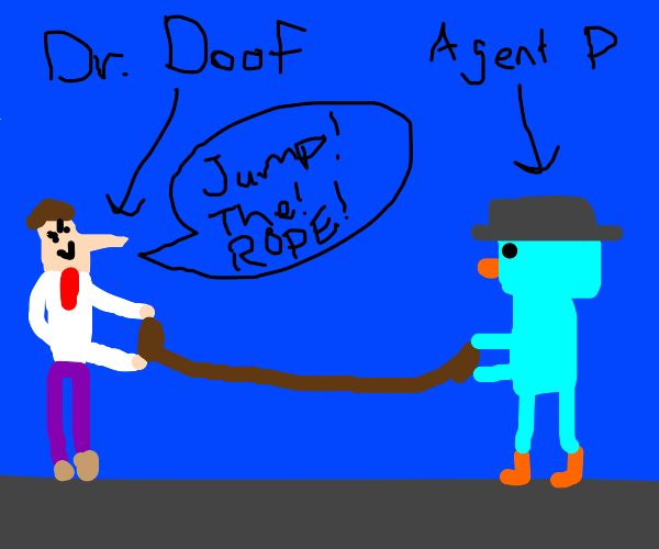 Dr. Doof and Agent P play jump rope