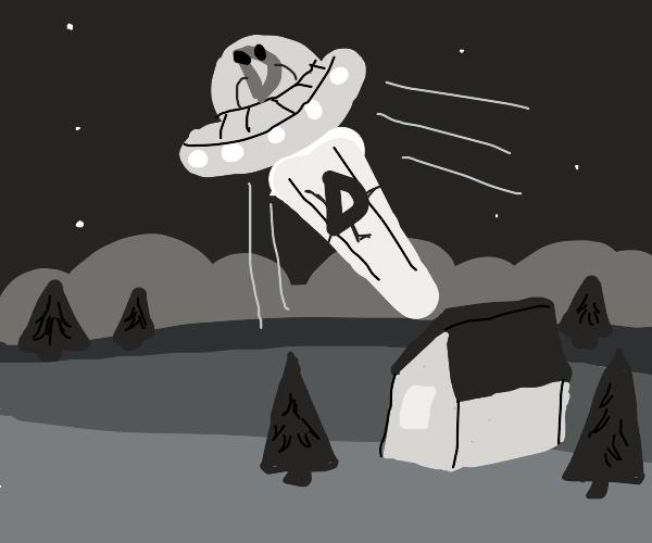 Drawception alien abducts Drawception D