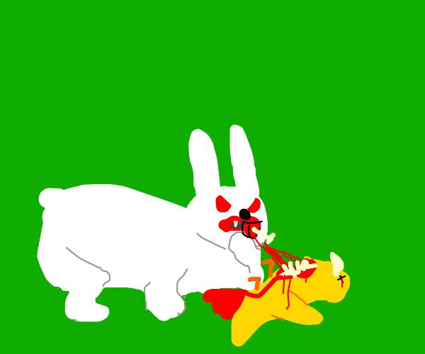 Bunny eats a bird