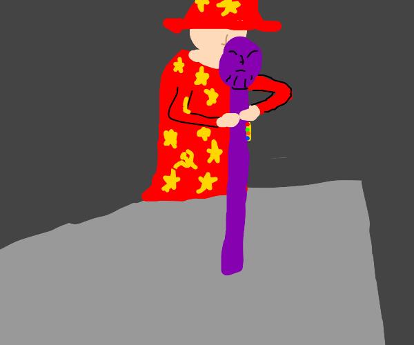 Wizard with purple wand