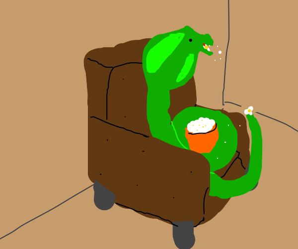 Snek eats popcorn