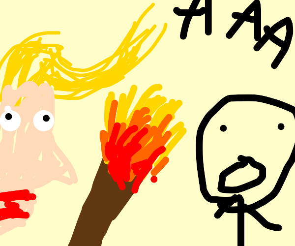 Trump, threatening a man with a flaming torch