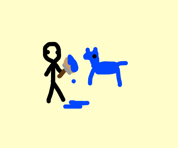painting a dog blue