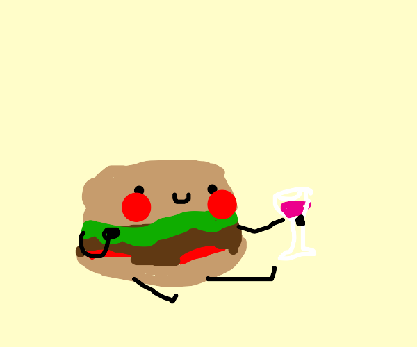Burger holds a Glass of Wine