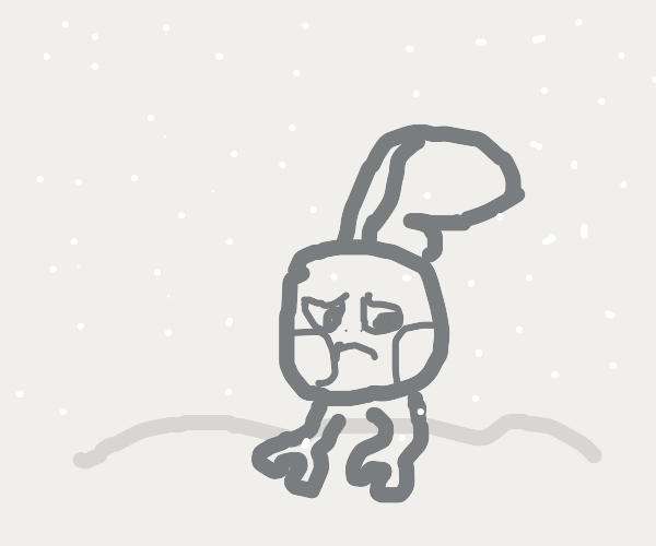Lonely chameleon cries in the snow
