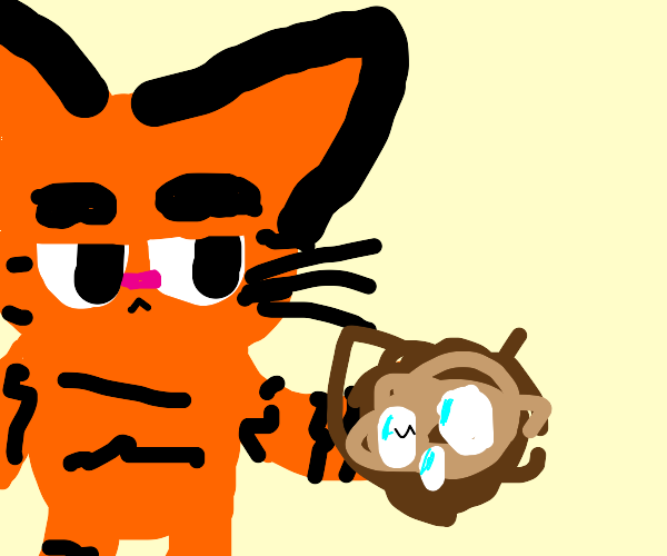 garfield holds a nest with eggs in it