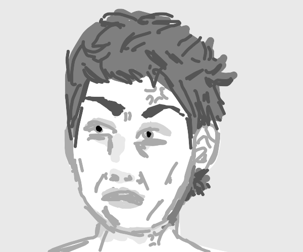 Angry black and white person