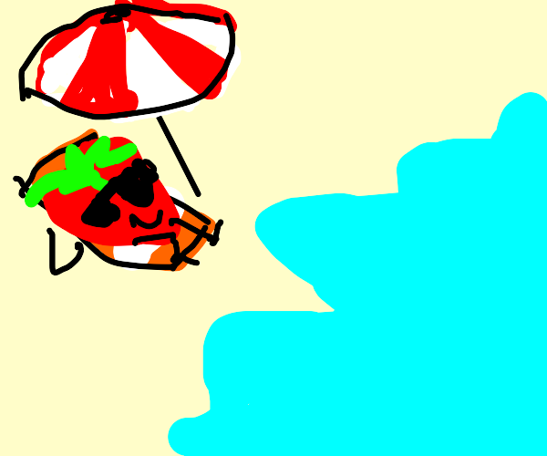 Strawberry is happy in paradise