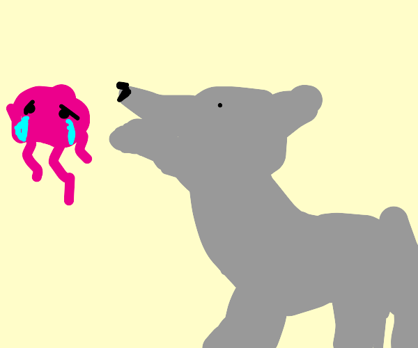 Wolf yells at crying jelly fish