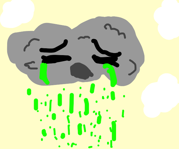 Crying a raincloud with green rain
