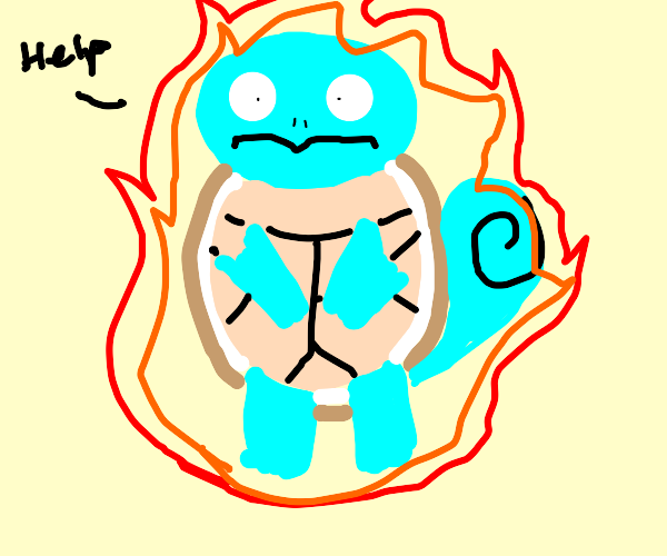 squirtle is on fire