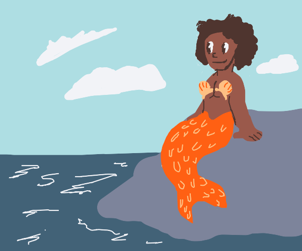 african american mermaid sitting on a rock