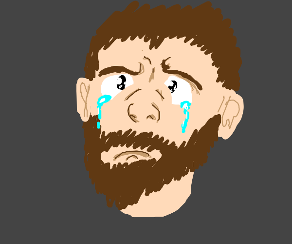Bearded guy crying manly tears