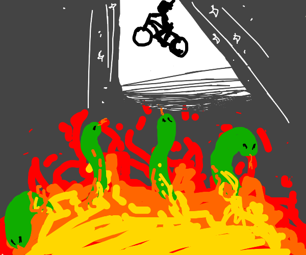 Cyclist jumping over pit of snakes and fire