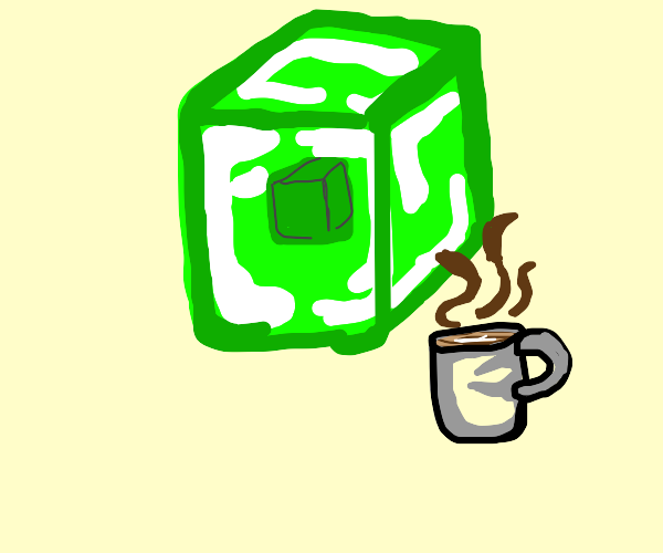 Green cube with a cup of tea/coffee