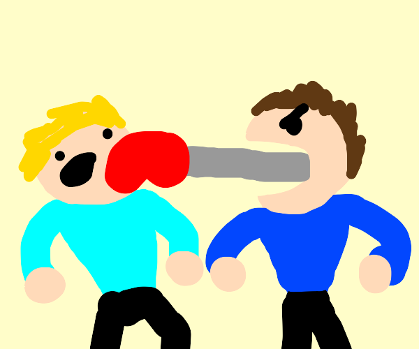 Person with punching hand coming out of mouth