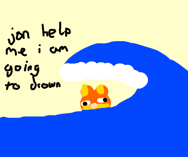 garfield is drowning oh no someone help him
