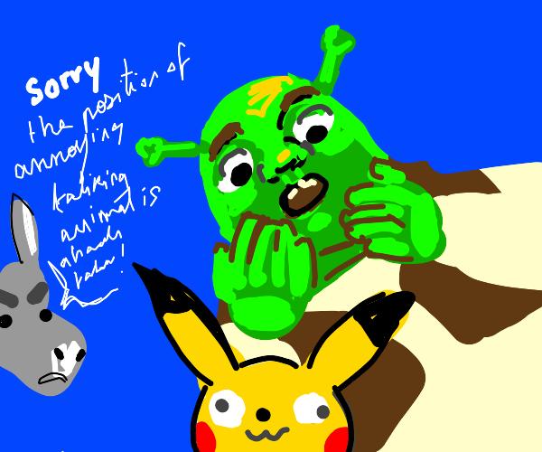 Shrek surprised by pikachu