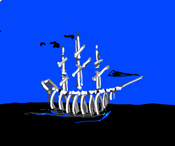 pirate ship made entirely of bones