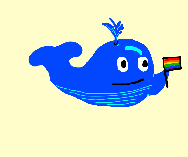Whale waving a pride flag