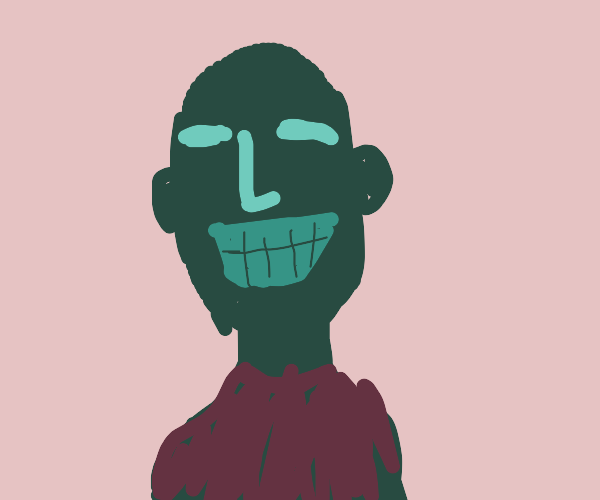 A portrait of a smiling man with no eyes