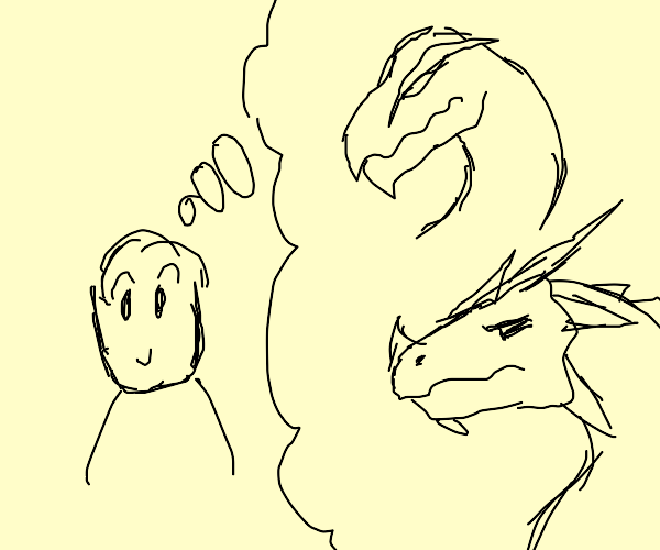 Person thinks about dragons
