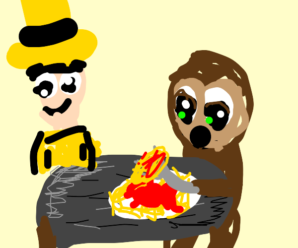 curious george eats pasta (confusion)
