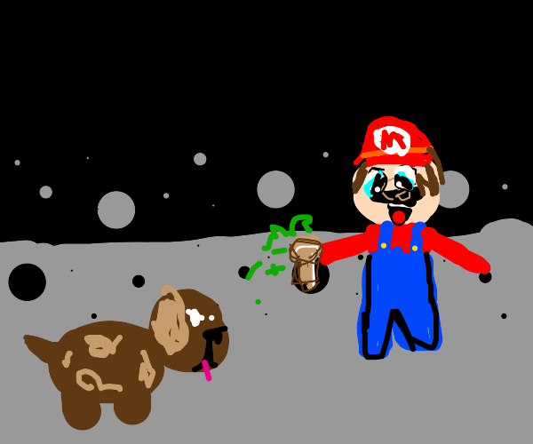 Dog eating a poisonous mushroom form mario